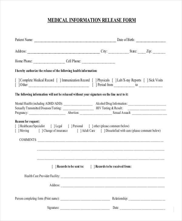 8 information release form samples free sample example format