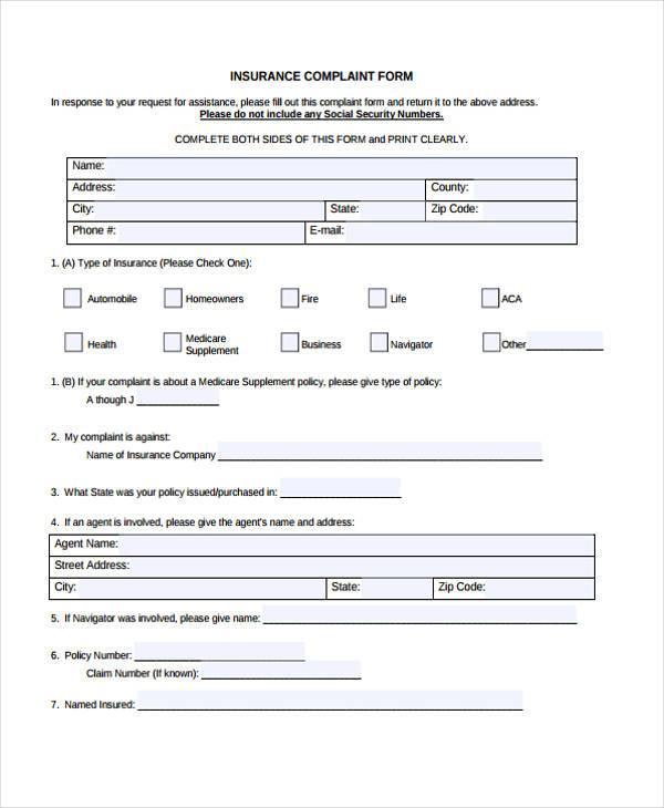 medical insurance complaint form