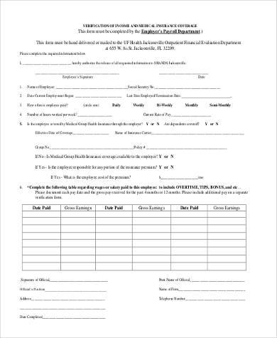 Sample Medical Verification Forms   Free Documents In Word Pdf