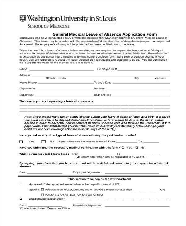 8 Medical Application Form Samples Free Sample Example Format – Leave Application Form for Employee