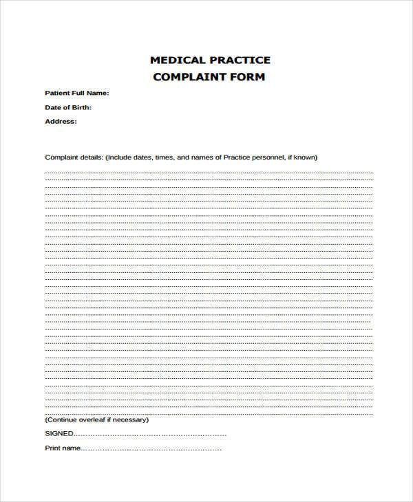 medical practice complaint form