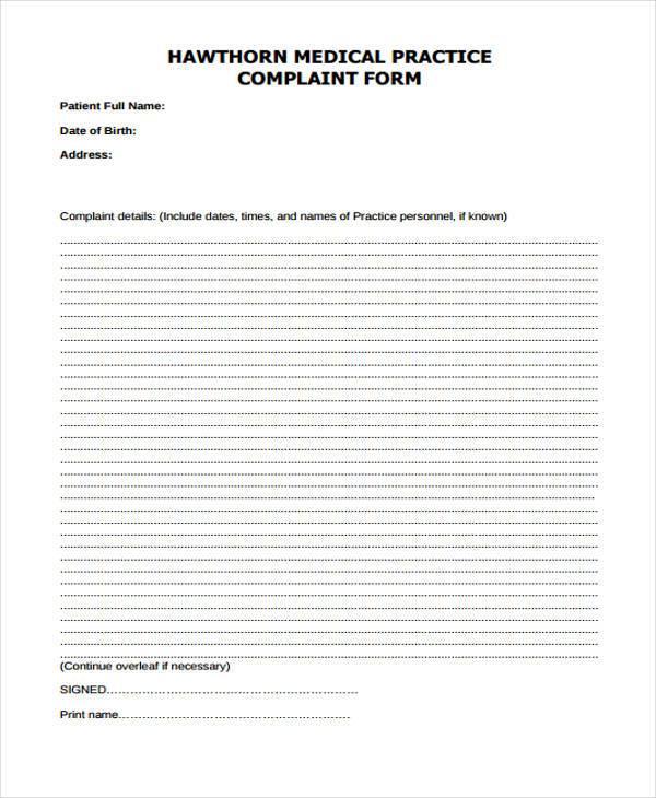 medical practice complaint form1