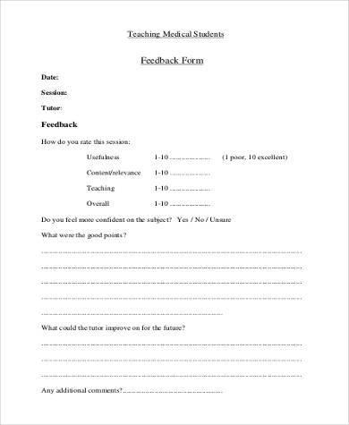 medical presentation feedback form sample