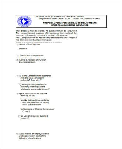 medical proposal form in word format