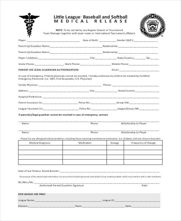 8 Medical Release Form Samples Free Sample Example Format Download – Physician Release Form