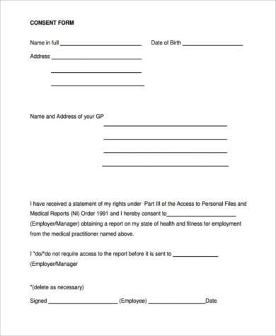 medical report consent form