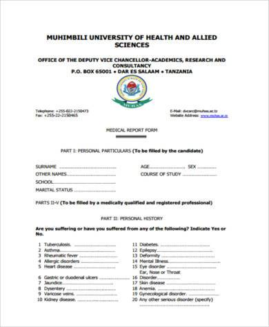 Sample Medical Report Forms   Free Documents In Word Pdf