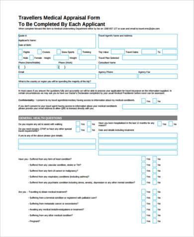 medical representative appraisal form