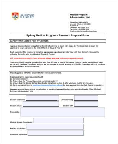 medical research proposal form