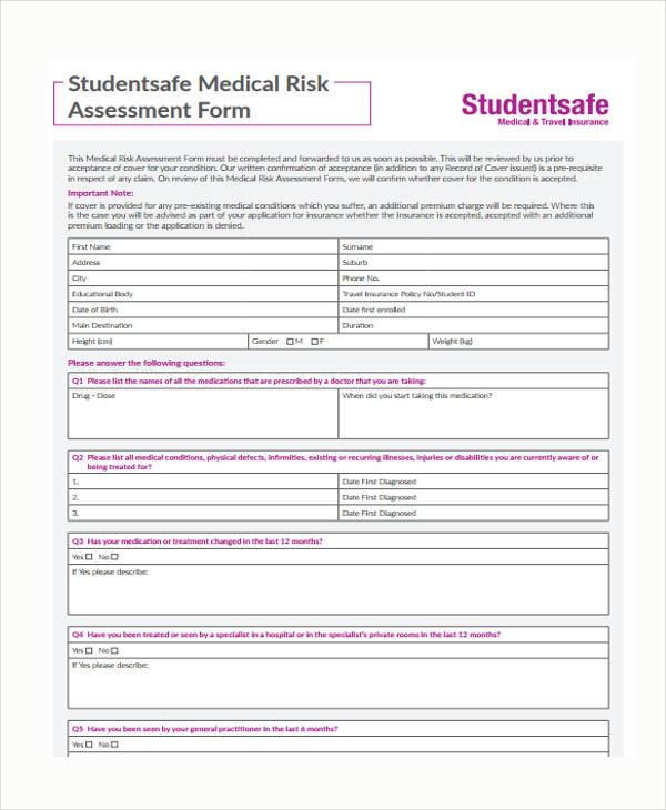 8+ Medical Assessment Form Samples - Free Sample, Example Format ...