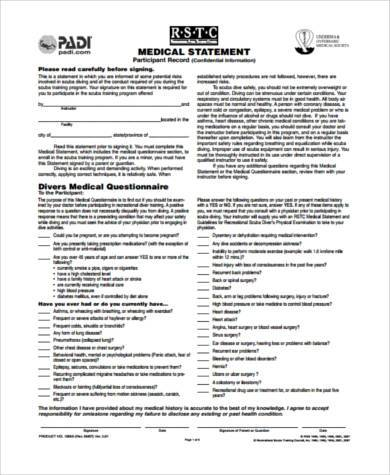Sample Medical Statement Forms   Free Documents In Word Pdf