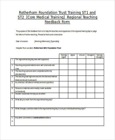 Oxford Deanery School Of Pediatrics Teaching Feedback Form