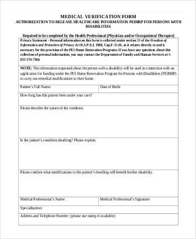 medical verification form in pdf