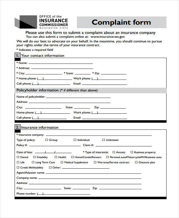 9+ Medical Complaint Form Samples - Free Sample, Example Format ...