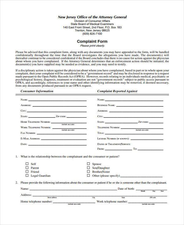 medical insurance complaint forms