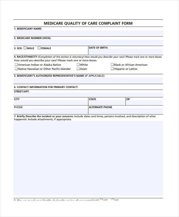 Patient Complaint Form Samples  Free Sample Example Format Download