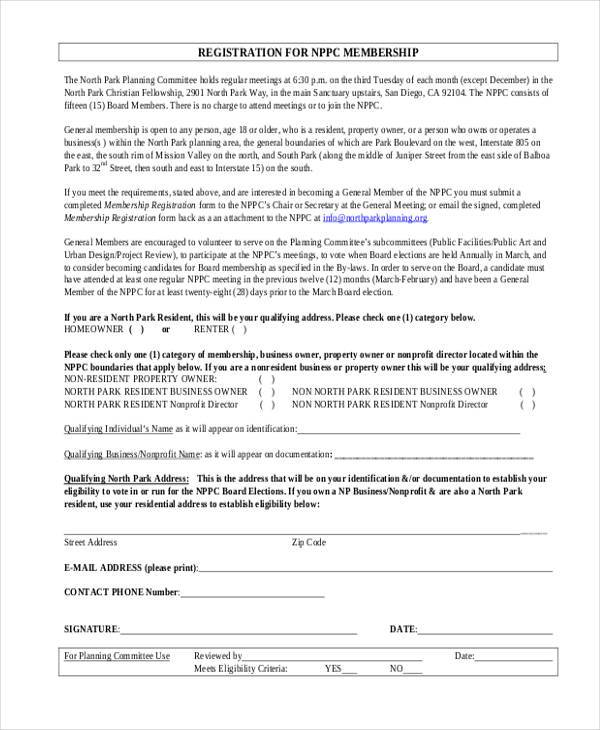 membership registration form example