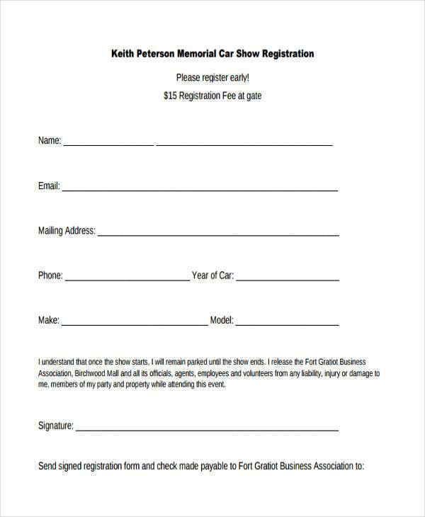 Car Show Registration Form Word Format