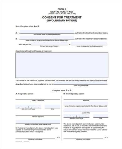 mental health consent form