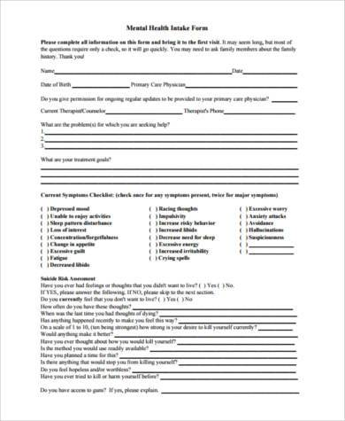 FREE 8+ Sample Mental Health Forms in PDF | MS Word