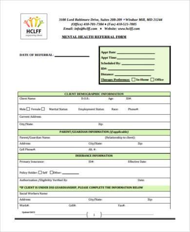 mental health referral form