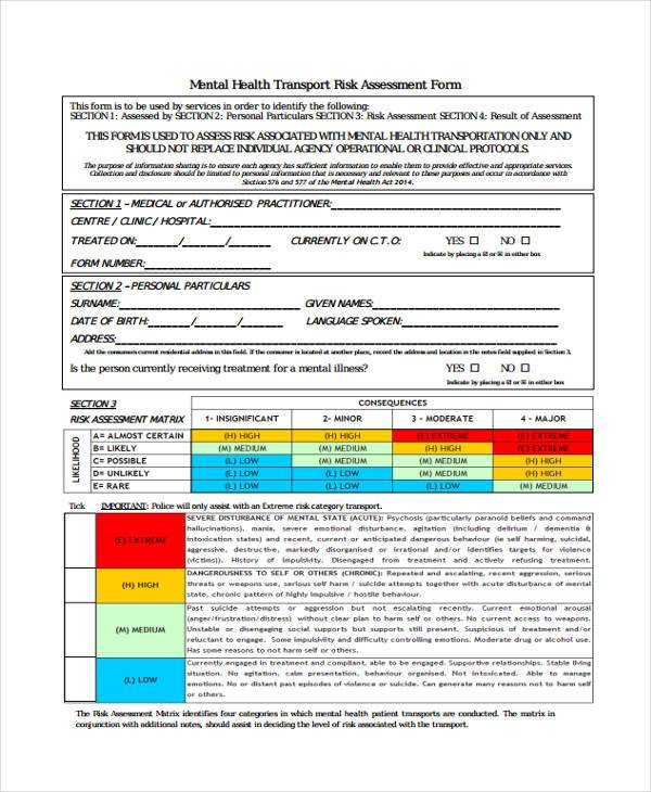 risk assessment template mental health - 27 sample assessment form examples free example sample