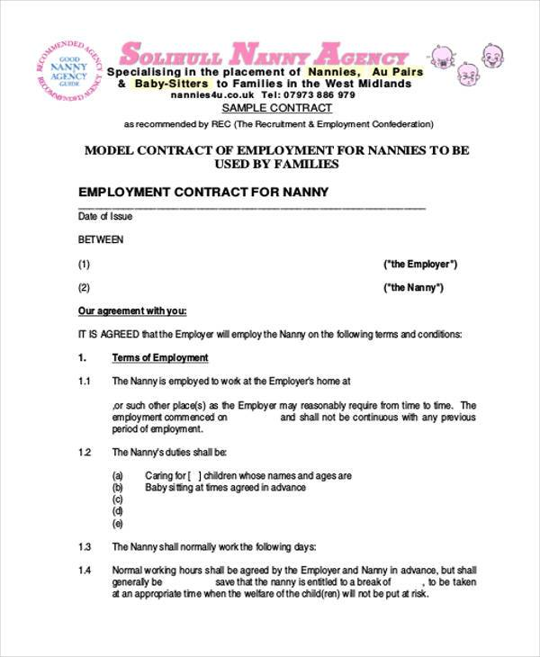 Employment Contract Form Samples  Free Sample Example Format