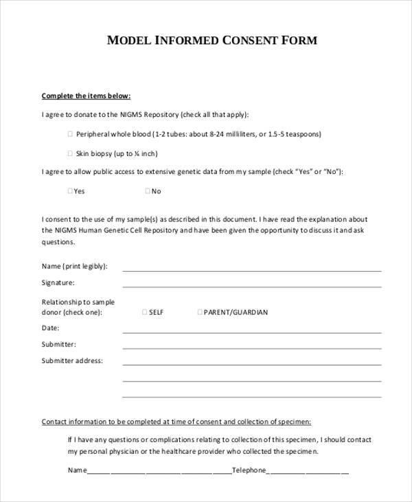 model informed consent form