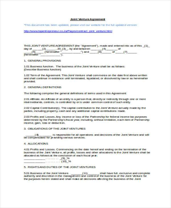 7 Joint Venture Agreement Form Samples Free Sample Example – Joint Venture Sample