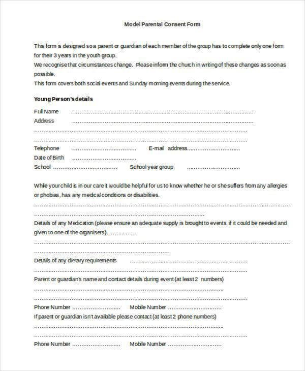 model parental consent form