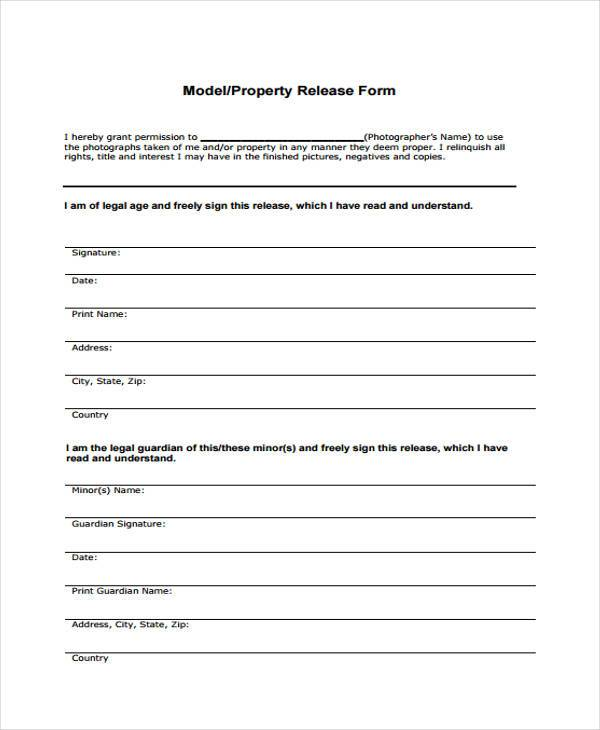 model property release form