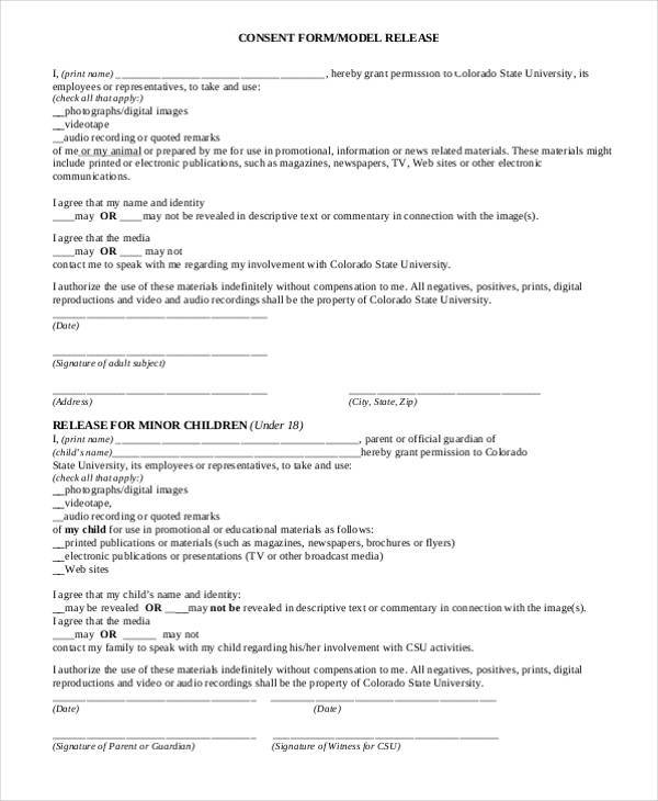 model release consent form