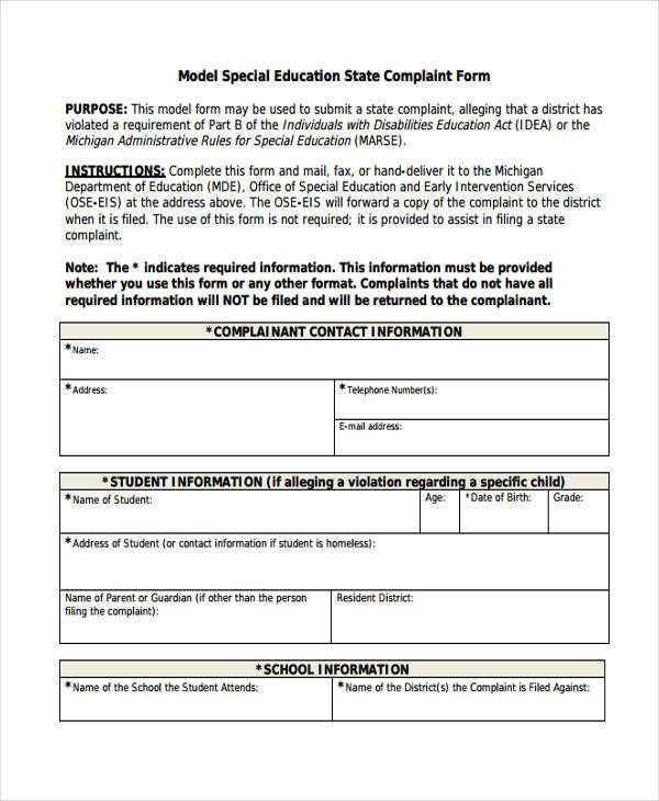 model special education complaint form example