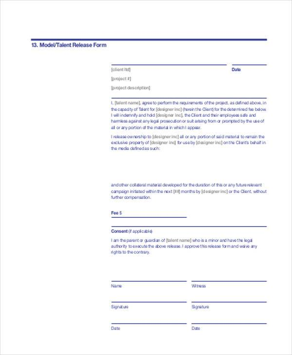 model talent release form in pdf1