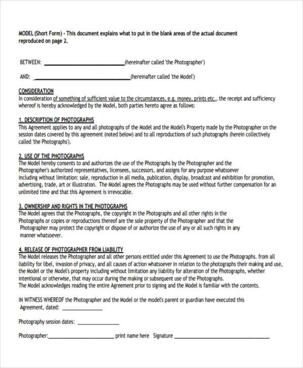 modelling agency contract form