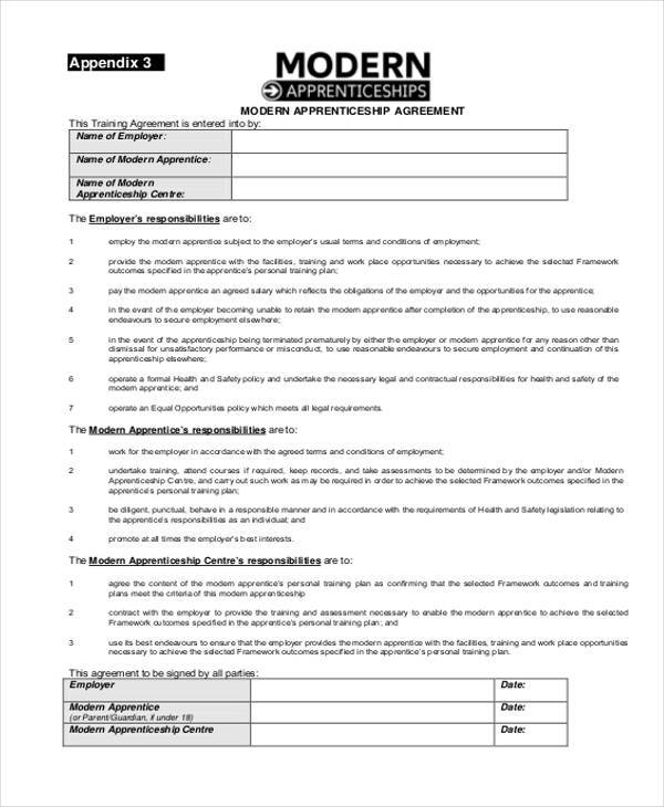 modern apprenticeship agreement form