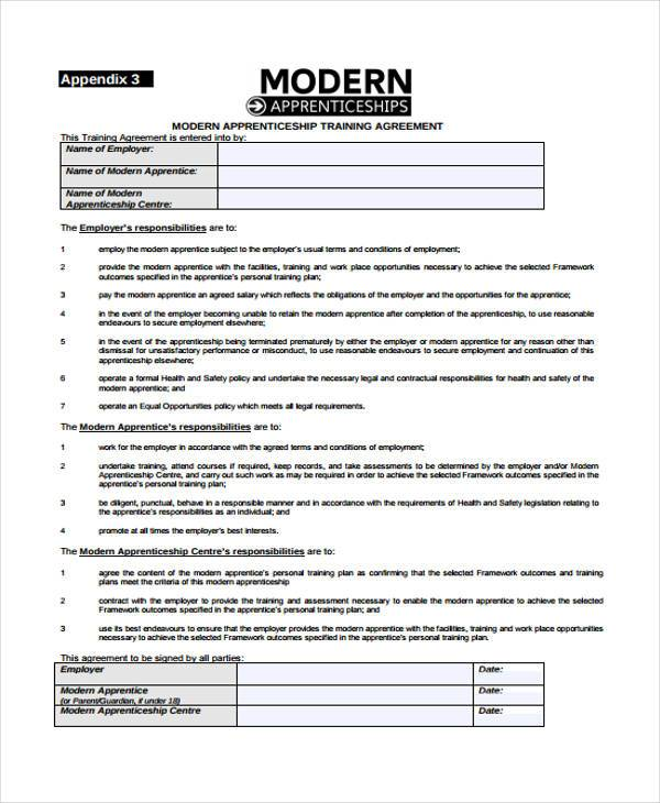 modern apprenticeship training agreement form