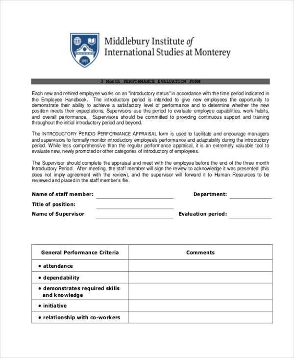 29 Employee Evaluation Forms – Employee Evaluation Form in Pdf