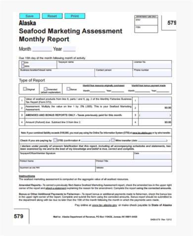 monthly marketing report form
