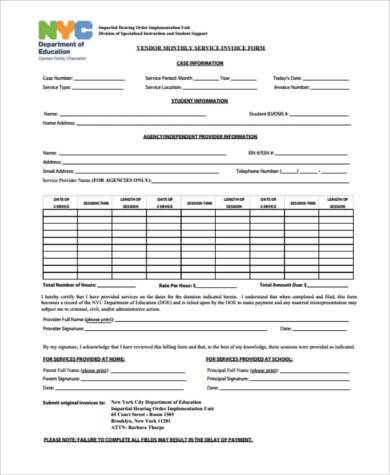 monthly service invoice form