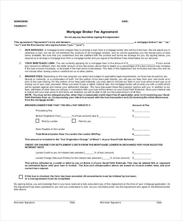 mortgage agreement form example