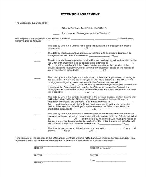 mortgage extension agreement form sample