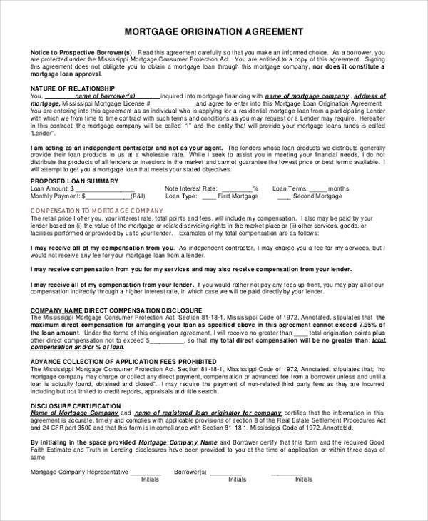 mortgage origination agreement form