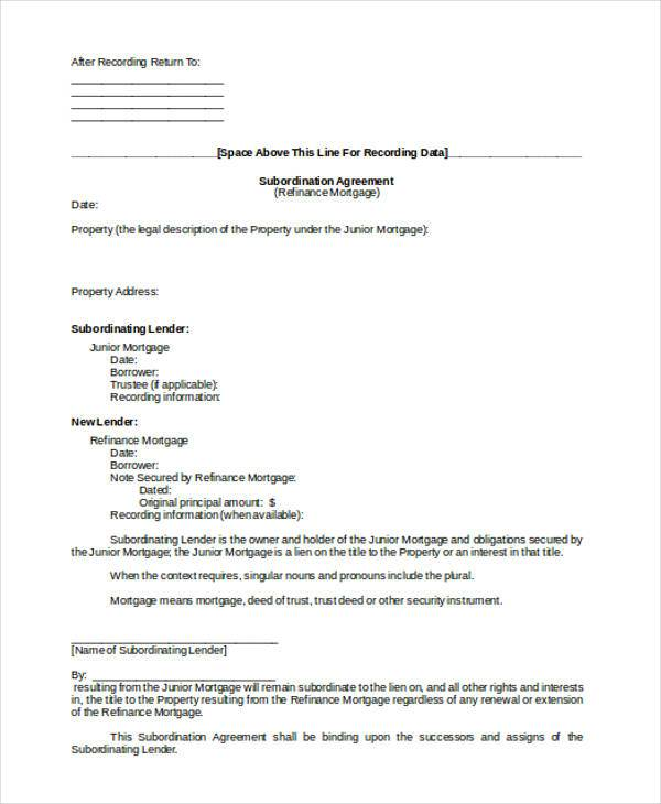 Wonderful Mortgage Subordination Agreement Form