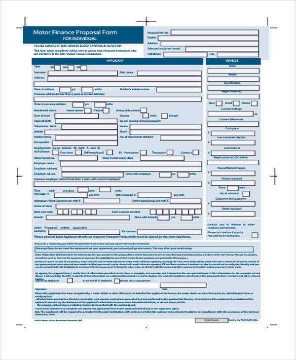 motor finance proposal form example