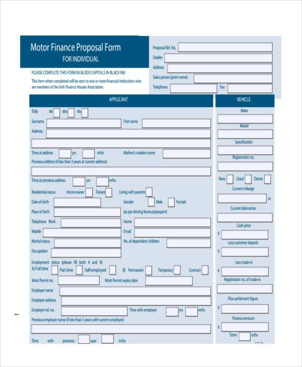 motor finance proposal form1