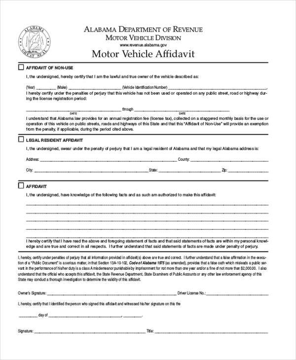 Motor Vehicle Affidavit Form
