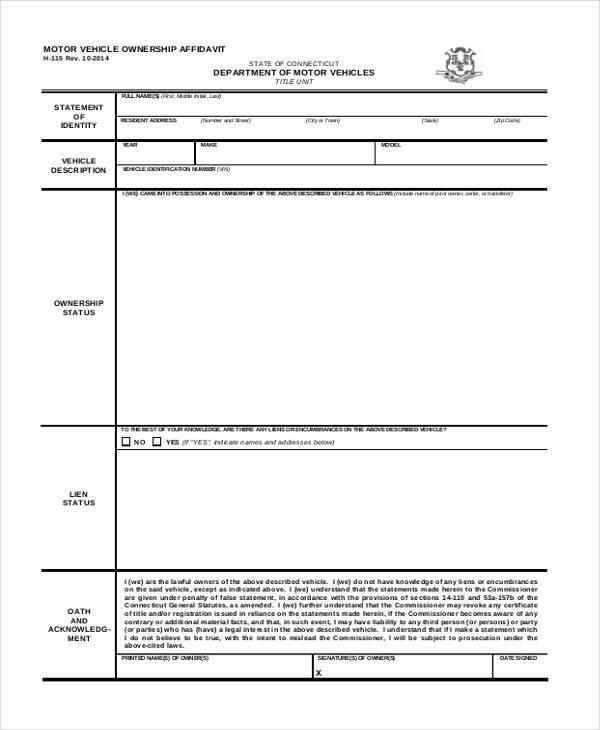 motor vehicle ownership affidavit form