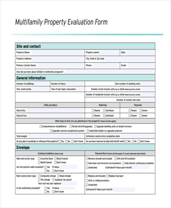 multifamily property evaluation form