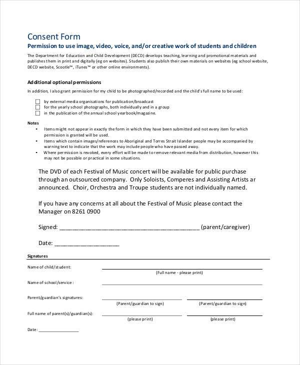 music video consent form